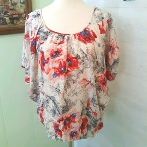 CAbi floral silk oversized blouse sz small *C2